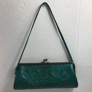 Alexis David hand tooled turquoise baguette purse